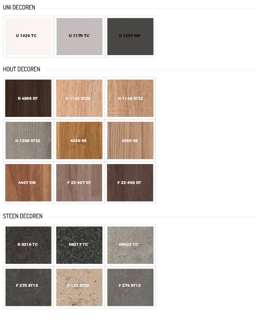 Voorbeelden keukenbladen met kleurcode